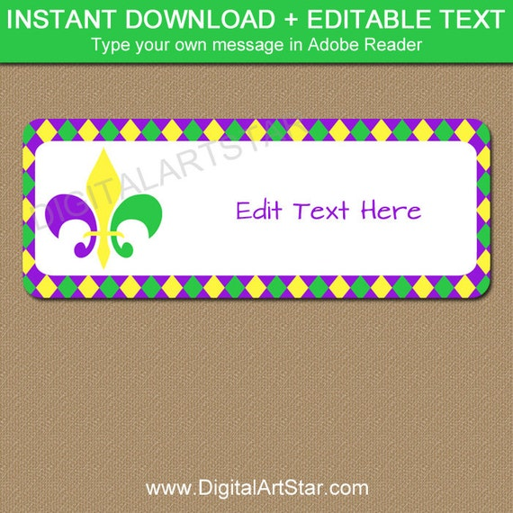 Mardi Gras Address Label Template, Instant Download Return Address