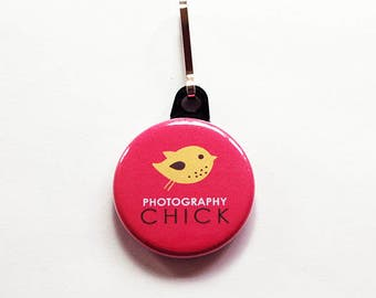 Photography Zipper Pull, Purse Charm, Photographer, Zipper Pull, Camera, Gift for her, Pink, Camera bag charm, Photography Chick (1084)