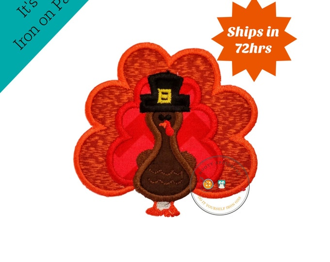 Small fall boy turkey with hat- iron embroidered fabric applique patch embellishment- ready to ship