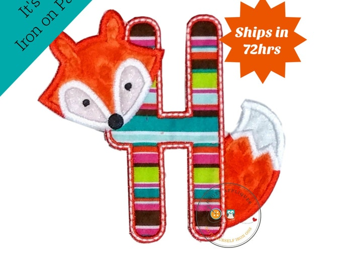 Woodland fox letter H machine embroidered iron on no sew patch, fox embroidered monogram letter h, ready to ship