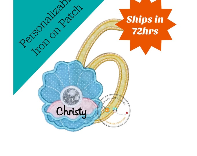 Clam shell with pearl birthday number 6 iron on path, embroidered fabric applique for kids clothing, under the sea sixth birthday patch