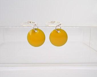 Mustard Yellow Disc Earrings. Fall jewelry. Autumn. Winter. Dangle. Silver Leverback. Enamel circle discs. Yellow earrings.