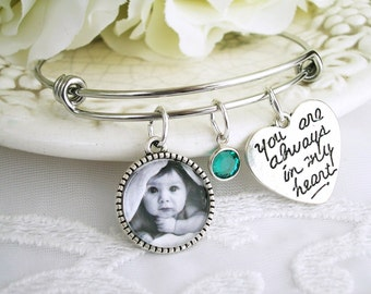 Photo Bracelet, Picture bracelet, Gift for Mom, Grandmom Gift, Photo Memory Bracelet, Keepsake Photo, ADD Swarovski Birthstone Bracelet Gift