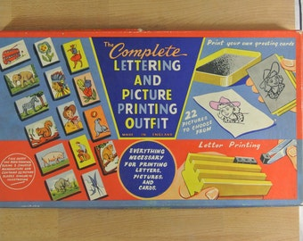 The Complete Lettering and Picture Printing Outfit | Rubber Stamps Letters Numbers | Made in England