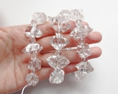"Sparkly LARGE Herkimer Diamond Drilled Beads with crystal round spacers Full 16"" strand K6956"