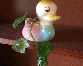 Vintage Shawnee Ceramic Duckling Planter Nursery Baby Shower Decor