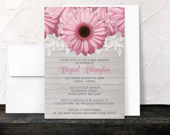 Pink Daisy Baby Shower Invitations - Rustic Floral and Light Gray Wood - Printed Invitations