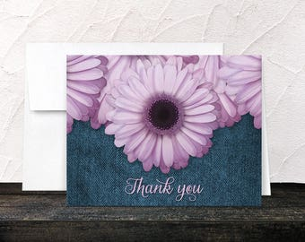 Rustic Purple Daisy Thank You Cards - Denim Blue & Purple Floral - Printed Cards