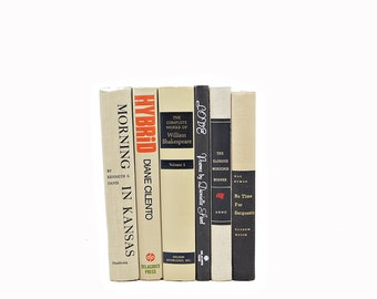 Tan Books, Black & Beige Old Book Decor, Wedding Centerpiece, Decorative Book Set, Vintage Bookshelf Decoration, Home Decor, Instant library