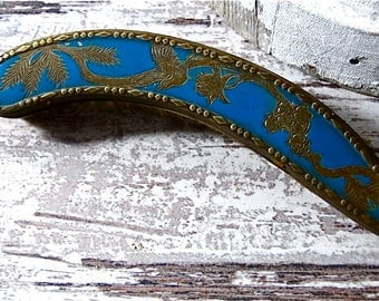 Curved Crumb Brush French Metalware Teal with Gold Gilt Antique Dinning Early Century