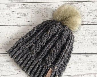 Women's Faux Fur Pom Hat, Crochet Beanie, Womens Winter Hat, Beanie, Ready to Ship