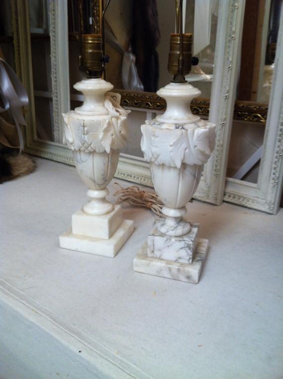 Alabaster Lamps Pair Vintage Alabaster Antique Alabaster