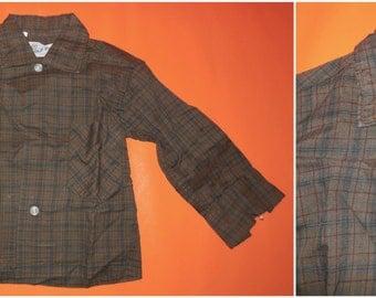SALE Unworn Vintage 1950s Boys Childs Shirt Brown Plaid LS Baby Shirt Gold Star Rockabilly NWOT Unworn