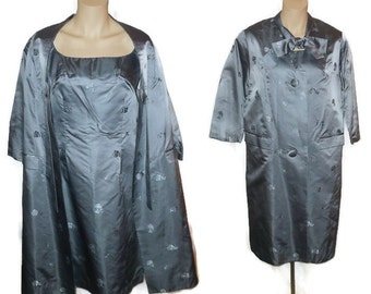 Vintage Satin Dress Set 1950s 60s Satin Dress + Long Coat Blue Gray Floral Embossed Satin Amazing Breakfast at Tiffany's M chest to 38 in