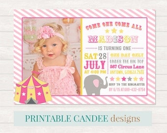 Pink Circus Birthday Invitation, Girl Carvival Party, Pink Yellow Circus Invite, Elephant Birthday Invitation, Carnival Birthday, Circus DIY