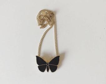 Vintage Black+Gold Butterfly