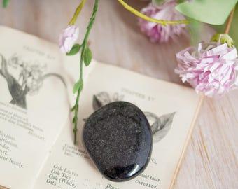 Silver Sheen Obsidian Palm Stone  - Natural Crystal - Gemstone - Obsidian