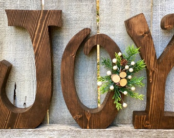 Joy Christmas Decor Chunky Natural Wood Letters with Christmas Greenery and Wood Slices, Natural Wood Christmas Decoration Joy Letters