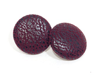Red Leather Earrings - Red Faux Leather Covered Button Earrings - 4 sizes .