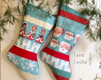 Retro Christmas Stocking Set of 2 - Angels, Santa Mugs - Quilte, Personalized, Mid Century Modern, Turquoise, Red, Holiday Decor, Vintage