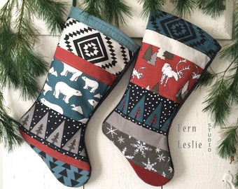 Quilted Christmas Stocking Set, Polar Bear, Deer, Rustic, Dark Red, Teal, Mushroom, Personalized, Animals, Modern, Holiday Decor, Elk