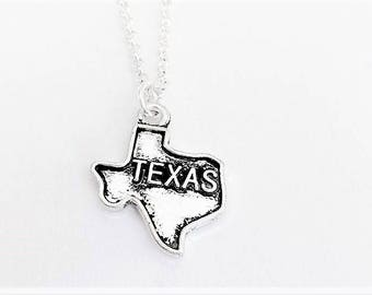 Tiny Texas necklace, silver state jewelry, map pendant, home state necklace, best friend jewelry personalized gift for her Texas outline
