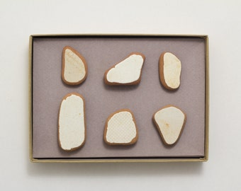 Brown & White Pottery Shards Magnets   Pottery Israel, Ceramic Unique Magnet, White Ceramic, Set of 6 Strong Magnet Unique Gift for a Friend