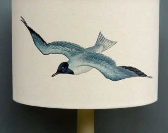 Seagulls 30cm 20cm drum hand printed Kettle of Fish lampshade