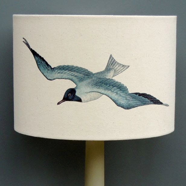Seagulls 30cm 20cm drum hand printed kettle of fish lampshade for Kettle of fish
