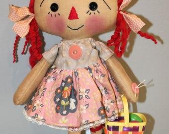 Standing Easter Annie - Primitive Raggedy Ann Doll (HAFAIR)