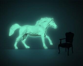 Moonlight Horse ( glow-in-the-dark night-light wall-sticker XL )
