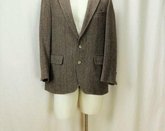 Harris Tweed jacket 40 Brown gray wool blazer Mens tweed sport coats Vintage clothing Retro herringbone blazer Casual sportcoat M
