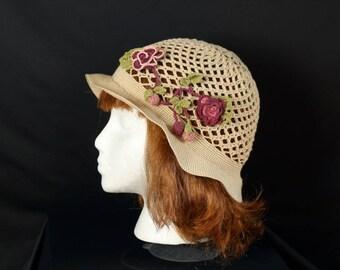 Crochet lace hat Flapper cloche Bohemian crochet soft brim hat Beige cotton summer cap Flowers boho hat Lightweight hat Crochet mesh hat