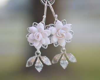 Kate Bridal Statement Earrings in White Gardenia and Brass Leaves. White Gardenia Bridal Earrings