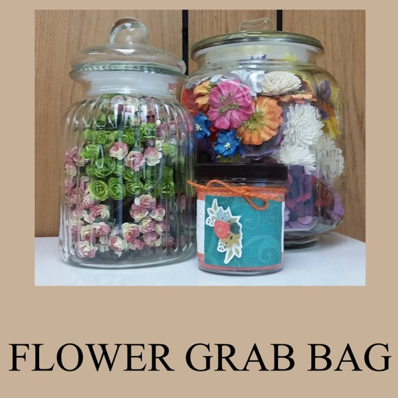 FLOWER Grab Bag / 25 assorted paper and wooden flowers / Mixed Media / Frames / Canvas Art