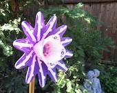 Garden Art, Hand Painted in Violet & Pinks - garden decor - lawn ornamnent - glass flower - garden gift - yard art garden
