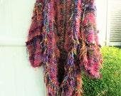 Reserved for Laura Balance Yeti furry warm coat handknit kimono ruffled textured rich french vine purple colors  coat multicolored