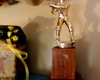 Vintage wood and metal Baseball trophy, Little league,baseball awards,