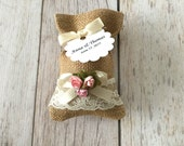 10 burlap and lace favor bags, pink paper flowers, wedding, bridal shower, baby shower.