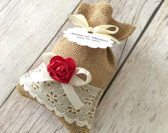 10 burlap and lace favor bags, red color paper flowers, wedding, bridal shower, baby shower.