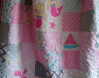 Nautical baby girl mermaid quilt in grey and pink, One of  a kind handmade quilt, girls crib blanket with handmade appliques