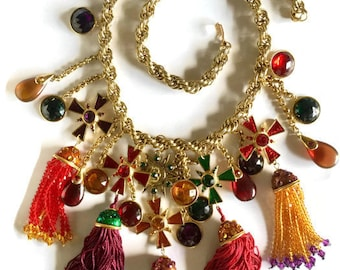 Vintage Oscar de la Renta Runway Couture Jewelled Star and Cross Medals with Silk and Bead Tassel Belt