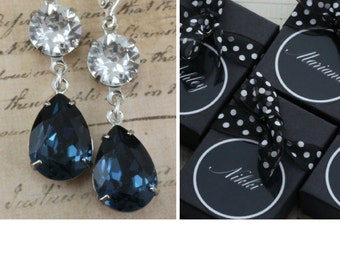 Navy Bridesmaid Earrings Set of 3 4 5 6 7 8  9 10 Pairs Bridal Party Gift Long Pear Teardrop Silver Navy Blue Crystal Avail as Clip On