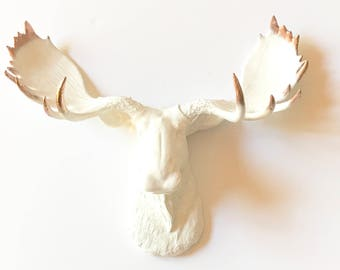 Faux Taxidermy Moose Head wall mount in WHITE with COPPER TIPS / modern decor faux animal head faux taxidermie nursery wall decor office