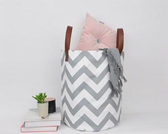 Chevron Nursery Basket, Laundry Hamper, Toy Storage, Laundry Basket, Fabric  Basket,