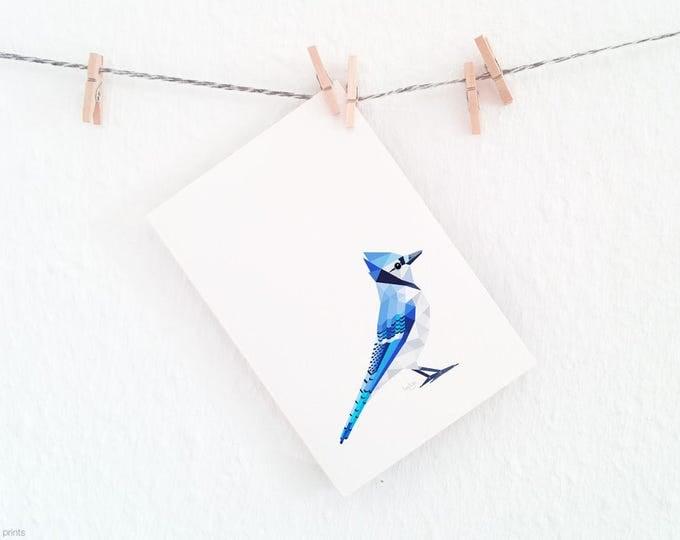 Blue jay print, Blue jay art, Geometric print, Kids bird art, American bird art, Blue bird art,  Nursery wall art, John James Audubon, Blue