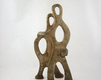 Mid Century Modernist Metal Sculpture, Dancing Figures, Vintage Brass Statue, Art Studio, Industrial