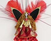 Day of the Dead Ornament, Goth Horror Doll decoration, peg doll ornament, unusual gift, dead fairy ornament, OOAK ornament