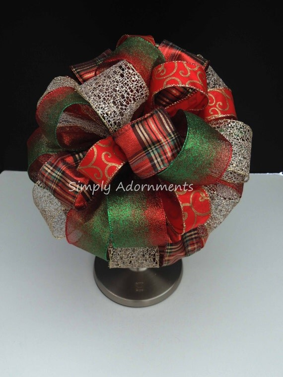 CIJ Red Green Gold Christmas Tree Topper Bow Red Green Gold Plaid Christmas Tree Bow Plaid Swirls Topper Tree Bow Winter Holiday Tree Topper