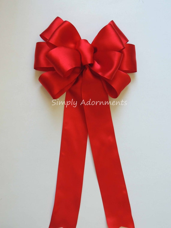 Red Wedding Pew Bow Red Birthday Decor Red Party Decor Valentine Wreath Bow Red Valentine Wedding Pew Bow Door hanger Bow Valentine Gift Bow
